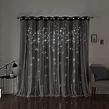 Aurora Home Star Punch Tulle Overlay Blackout Curtain Panel Pair Dark Grey 52