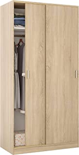 Habitdesign Armario de Dos Puertas Correderas, Acabado en Color Roble Canadian, Medidas: 100 cm (Ancho) x 200 cm (Alto) x ...