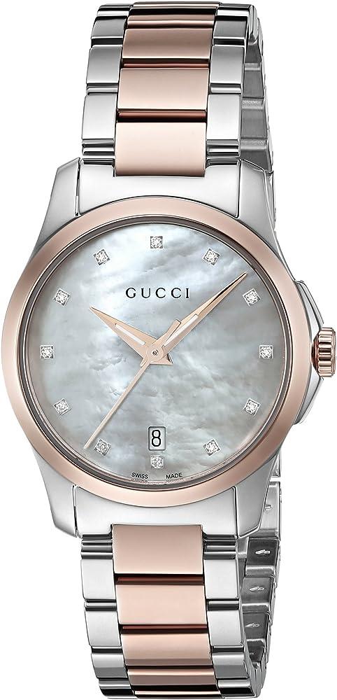 Gucci,orologio da donna,cassa in acciaio bicolore argento e oro rosa con incastonati 12 diamanti YA126544