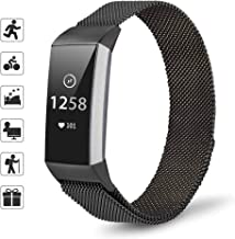 TOMALL Stainless Steel Bands Compatible Fitbit Charge 3 Magnetic Replacement Small Large Size Wristbands for Fitbit Charge 3 Fitness Tracker (Black)