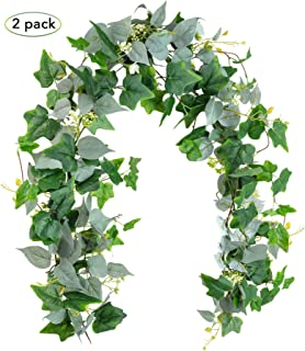 Artificial Greenery Garland, Fake Vines - Pack of 2 - 6FT Faux Green Garland with White Flowers and 5.6FT Artificial Ivy Green Leaves Garland, Decorative Vines Wedding Arch Table Runner Garland