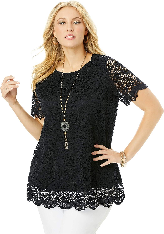 Jessica London Women's Plus Size Lace Tunic Long Shirt