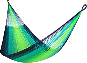 "Yellow Leaf Hammocks SL-TJ ""St. Lucia Classic Double Hammock, Fits 1-2 People (400 lbs), Neon, Blue & Turquoise"