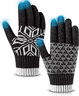 Pvendor Winter Gloves Touch Screen Warm Knit Gloves, Soft Wool Lining Elastic Cuff Gloves for Running, Anti-Slip Rubber Design Warm Gloves for Men Women