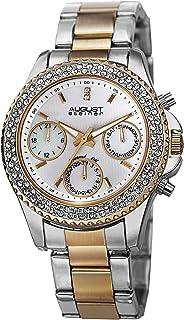 August Steiner Women's Swiss Quartz Multifunction Watch - 3 Subdials on Diamond & Crystal Filled Bezel On Stainless Steel ...