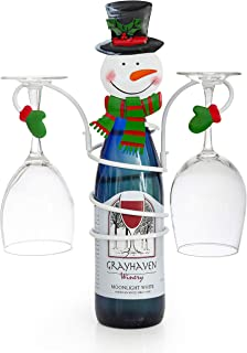 Besti Snowman Wine Bottle and Glass Holder Stand | Classic Christmas Holiday Decor for Kitchens, Dining Rooms | Beautiful, Elegant Metal Design | Unique Gift Choice