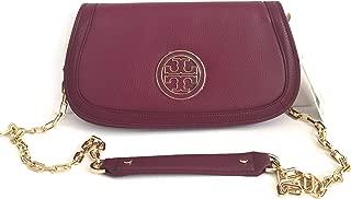 Amanda Logo Leather Clutch Crossbody Bag TB Logo (Shiraz)