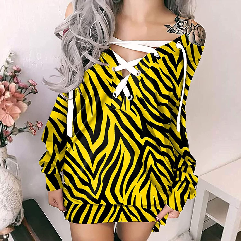 Women Lace Up Gothic Off Shoulder T Shirt Dresses,Plus Size Long Sleeve Butterfly Crisscross Casual Mini Party Dress