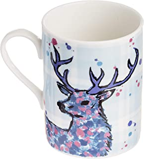 Scottish Stag Coffee Mug/Tea Cup. Handcrafted Scottish Gift with Outlander Inspired Artwork on a Plaid Background