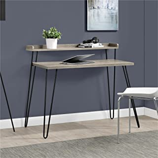 Ameriwood Home Haven Retro Desk with Riser, Weathered Oak