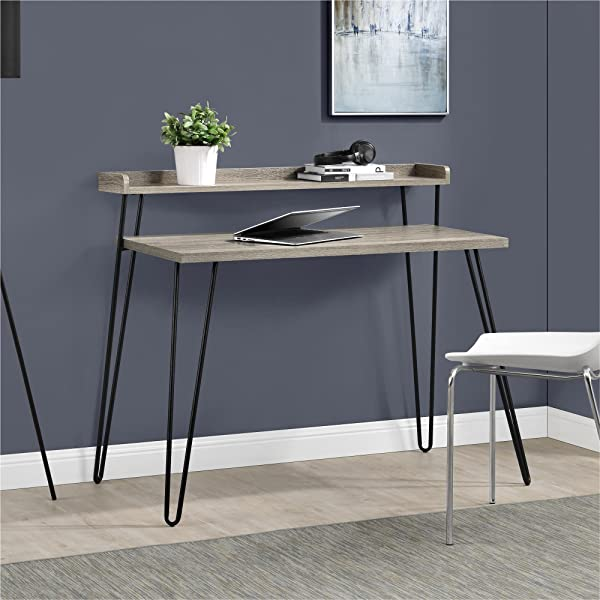 Ameriwood Home Haven Retro Desk With Riser Weathered Oak