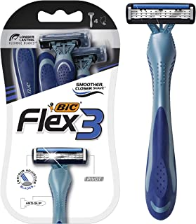 BIC Flex 3 Men's 3-Blade Disposable Razor, 4 Count