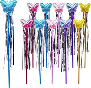 BigButer 30 Pieces Butterfly Decor Fairy Stick Party Supplies Fairy Princess Wand Colorful Party Photo Props Birthday Party Decoration Baby Shower Decor Tea Party Favor