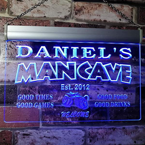 ADVPRO X0012 Tm B Man Cave Bar Custom Personalized Your Name Established Date LED Neon Sign Blue 16x12 Inches