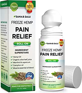 Sana&Salu Pain Relief Freeze Hemp Roll On, Quick & Lasting Pain Relief for Arthritis Joint Muscle Backaches Sprains, Reduce Inflammation Safe, Effective Support for Joint Pain Relief ,3FL OZ (1 pack)