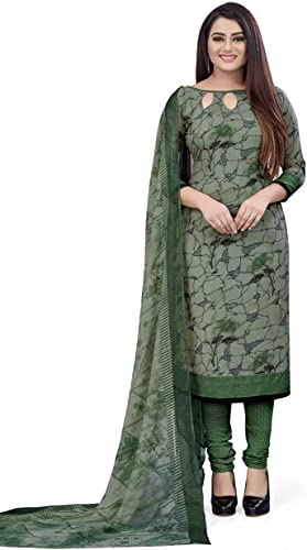 Women s Printed Leon Synthetic Dress Material with Dupatta