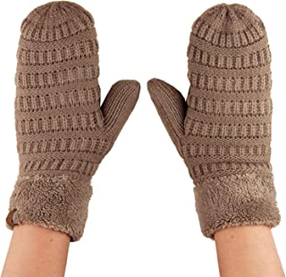 C.C Unisex Winter Warm Inner Fuzzy Lined Anti-Slip Cuff Mittens