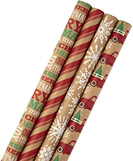 Hallmark Christmas Wrapping Paper Bundle with Cut Lines on Reverse, Kraft (Pack of 4, 88..