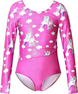 Jxstar Girls Long Sleeve Gymnastics Leotards Kids Sparkle Unicorn Outfit Clothes