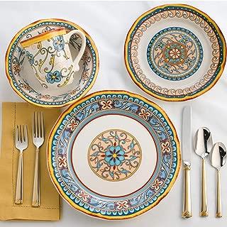 Euro Ceramica Duomo Collection Italian-Inspired 16 Piece Ceramic Dinnerware Set, Floral Design, Multicolor