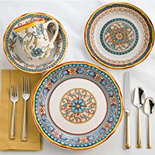 EuroCeramica Duomo Collection 16 Piece Artisan Dinnerware Set Handcrafted Italian Style Dishes, Service for 4, Floral Desi...