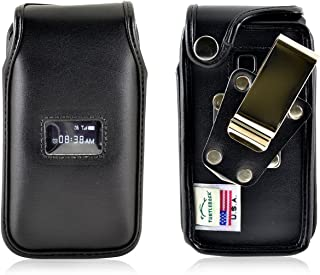 Turtleback Fitted Case Made for ZTE Cymbal T Phone Black Leather Rotating Removable Metal Belt Clip Made in USA