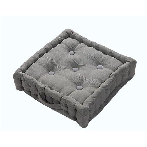 Homescapes Rajput 100% Cotton Floor Cushion Charcoal Grey 40 X 40 X 8 Cm  Square