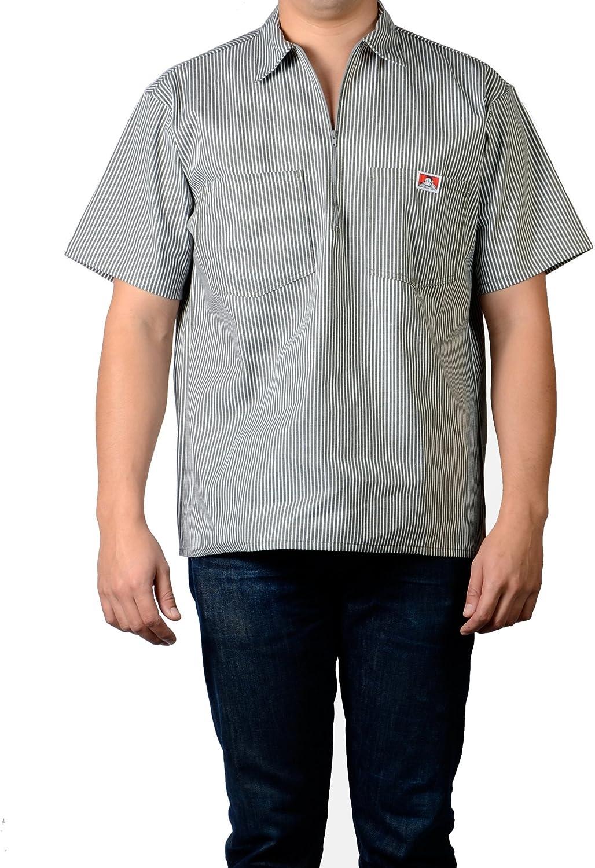 Ben Davis 11239 Men's 1/2 Zipper Short Sleeve Stripe Shirt