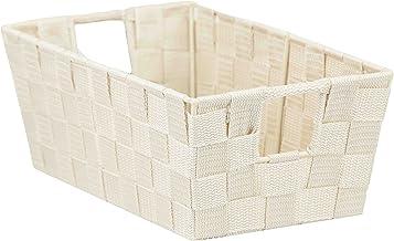 Home Basics Non-Woven Strap Handle Bin, Storage Basket Organizer, (Ivory, Small)