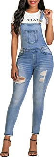 Women's Stretch Jeans Jumpsuit Denim Ripped Distressed Skinny Overalls¡