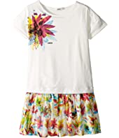 Junior Gaultier Dress with T-Shirt Top with Image of Flower and Flower Bottom (Big Kids)