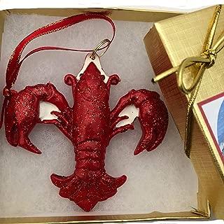 New Orleans Crawfish Fleur De Lis Christmas Ornament Cajun Christmas decor decoration Crayfish Boil Crayfish ornament Crawdad Red French Quarter Travel tree decor decoration wedding w Gift Box Xm