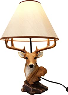 Atlantic Collectibles Vintage 8 Point Buck Deer Bust Desktop Table Lamp Statue Decor With Shade