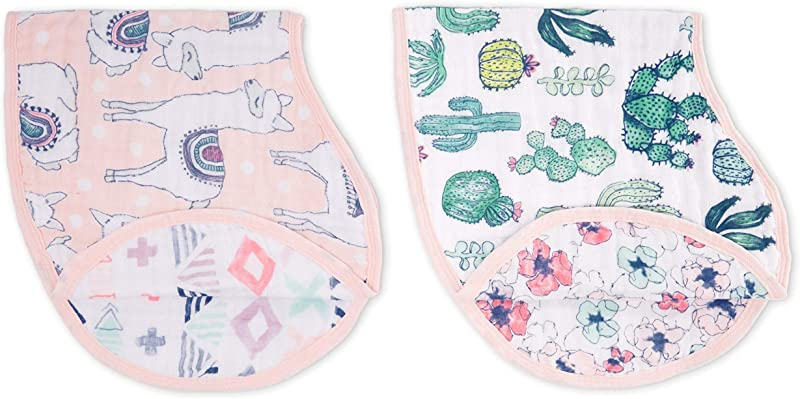 Aden Anais Classic Burpy Bib 100 Cotton Muslin Soft Absorbent 4 Layers Multi Use Burp Cloth And Bib 22 5 X 11 Trail Blooms 2 Pack