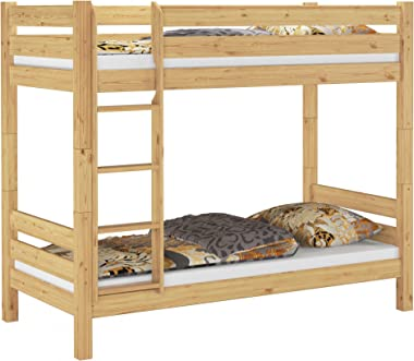 Cadre de lit superposé très Stable pin Massif Naturel 90x200 sans sommier ni Matelas 60.11-09Ni100oR