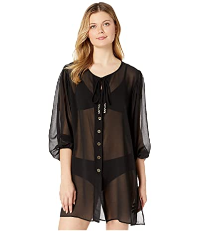 MICHAEL Michael Kors Solid Logo Chain Button Front Cover-Up Top (Black) Women