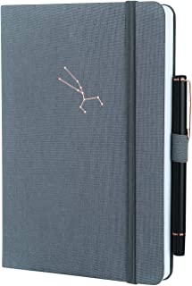 SEQES Dotted Hardcover Notebook-Fabric Oxford Cover, A5(5.7 x 8.2) Thick Paper 160gsm Dot Grid Notebook with Pen Loop, Pocket, Elastic Closure Writing Sketching Journal, Hot Stamping Taurus Grey