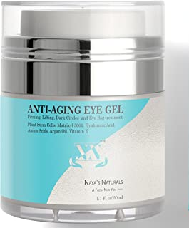 Eye Gel for Dark Circles Puffiness Wrinkles and Bags - New All Natural Organic Formula | Rejuvenating Anti-Aging Firming Eye Cream for Eye Wrinkles Around and Under eyes For Women and Men 1.7 Oz
