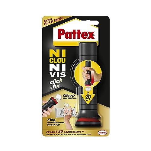 Pattex Ni Clou Ni Vis Click & Fix, colle de fixation sous forme d'applicateur pré-dosé, jusqu'à 20 doses, colle rapide sur tout matériau, colle blanche, 30 g