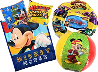 Disney Junior Mickey and The Roadster Racers Pool Set | Includes Officially Licensed Mickey Mouse Beach Ball, Arm Floats, 1 Swim Ring, Swim Goggles and 1 Mickey Mouse Tote Bag | Summer Time Beach Fun