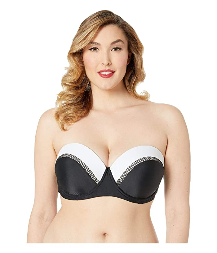 Unique Vintage Plus Size Marianne Bandeau Swim Top (Black/White) Women