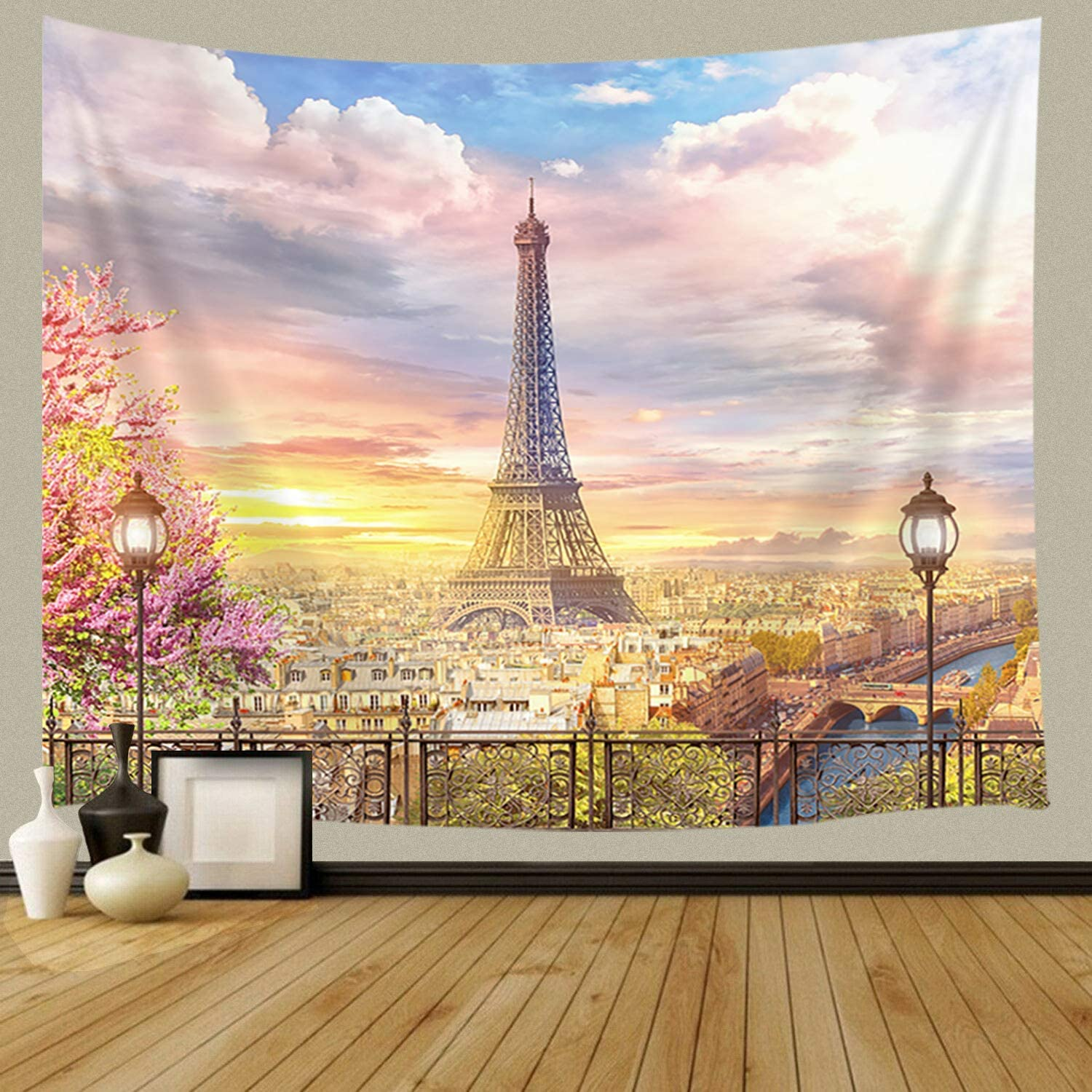 JAWO France Wall Tapestry, Balcony on The Paris Effel Tower, Art Home Decor Tapestry for Bedroom Living Room Dorm Wall Hanging Tapestry Beach Throw Table Runner Cloth 80x60inches