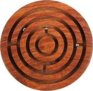 Penguin Home Ball in a Maze Puzzle 4 inches, Wooden, Brown, 4