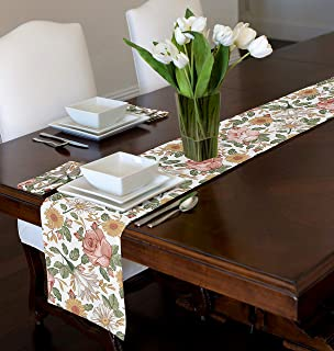 A LuxeHome Blush Pink, Yellow, Green and White Shabby Chic Boho Rose Vintage Floral Farmhouse Table Runner Mat Topper 12