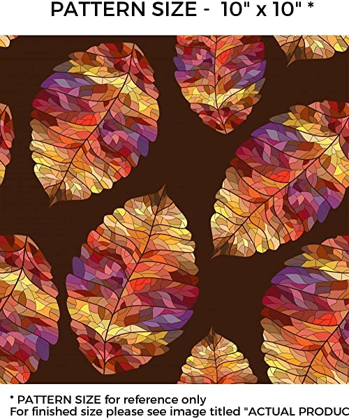 WindowPix 42 X 12 Technicolored Stained Glass Fall Leaves Window Film Reusable Static Cling Windowfilm UV Filtering Energy Saving
