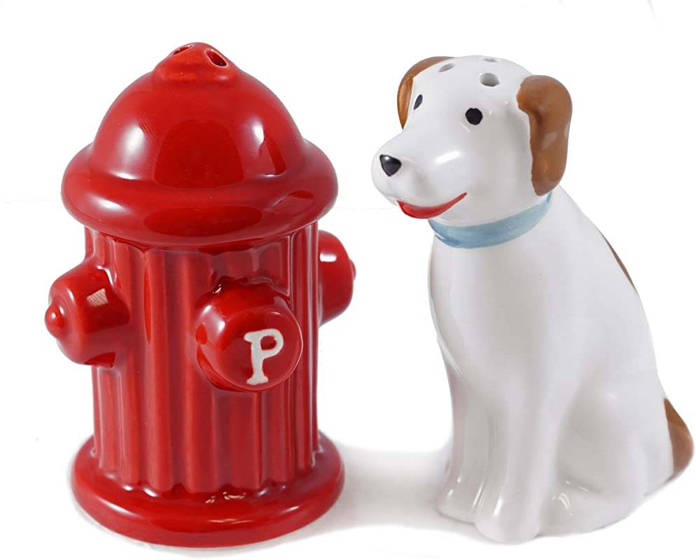 DEI Dog With Fire Hydrant Salt And Pepper Shaker Set