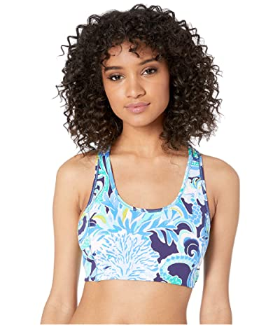 Lilly Pulitzer Luxletic Teegan Sports Bra (Bright Navy Sirens and Spirits) Women