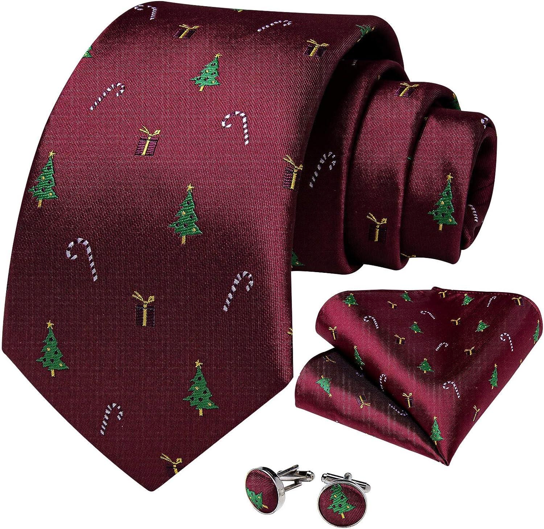 Christmas Tree Candy Print Red Men's Silk Ties Festival Party Necktie Pocket Square Cufflinks Set Cravat Gift Men