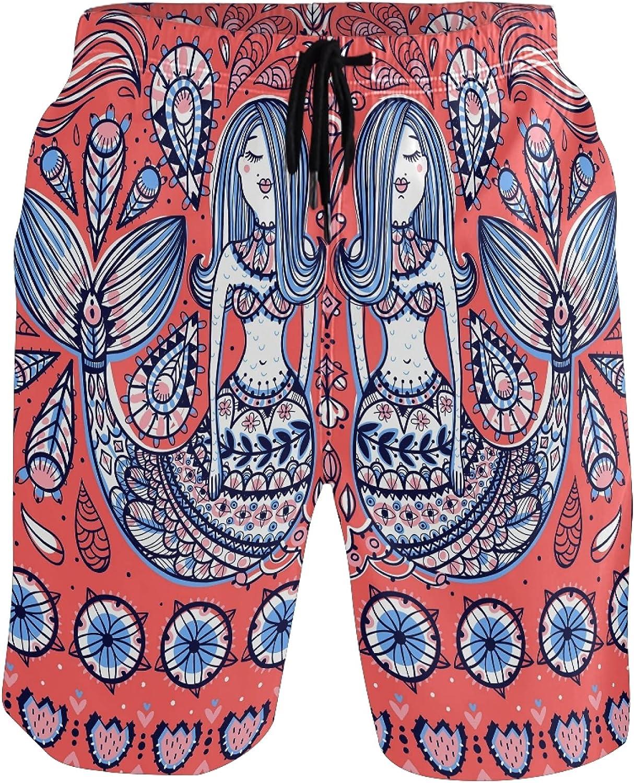 Beach Shorts Vintage Ethnic Mermaid Paisley Pattern Quick Dry Sports Swim Trunks Running Board Shorts for Man Boys