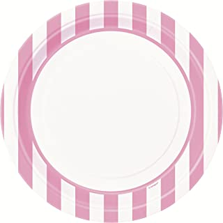 Light Pink Striped Paper Plates, 8ct